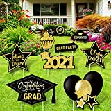 Whaline Graduation Yard Sign with Stakes 9Pcs Black Gold Lawn Sign Congrats Grad Class of 2021 Star Grad Cap Yard Sign for Graduation Outdoor Lawn Decoration Supplies
