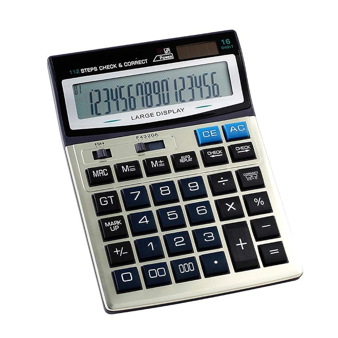 杖過剰警察電卓 デュアルパワー標準機能デスクトップオフィスおよびビジネス用 (16桁)