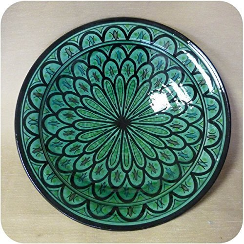 Orientalischer Keramik Teller handbemalt marokkanische Keramikschüssel Wandteller groß Color Grün