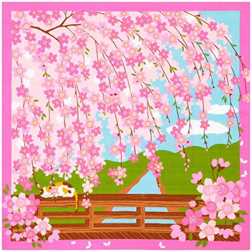《DM便対応》 (キステ)Kisste 三毛猫みけのゆめ日記 小ふろしき 5-4-02167 4月・みけのお花見