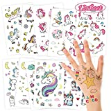 O-Kinee Adesivi per UnicornoTemporanei Tatuaggi Finti Adesivi Giocattoli Gadget per Ragazza Bambini Tatuaggio Temporaneo Festa Compleanno Impermeabile (12 Fogli)