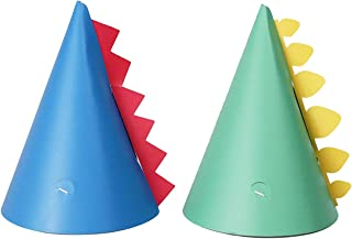 Dino Party Hats | 12 Pack | Dinosaur Spike Birthday Party Hats | Blue and Teal