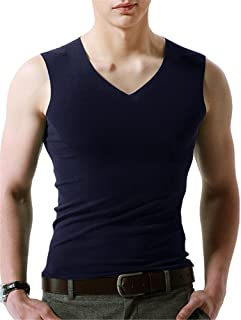 BESTLEE Vネックスリーブレス インナーシャツ メンズ カジュアル 無地 無袖