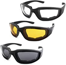 3 Pair Motorcycle Riding Glasses Padding Goggles UV Protection Dustproof Windproof Motorcycle Sunglasses with Clear Smoke Yellow Lens for Outdoor Sports Actives