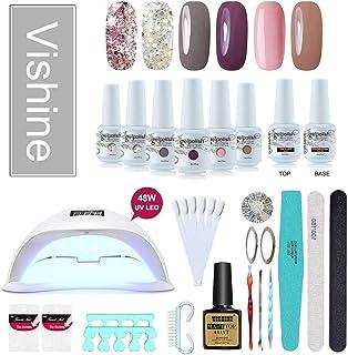 Vishine Gel Nail Polish Starter Kit, 48W LED Nail Dryer Lamp Base Top Coat 6 Pretty Colors Nail File Manicure Tools Matte Top Coat for Nail Art #05
