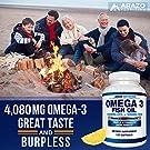 Omega 3 Fish Oil 4,080mg - High EPA 1200mg + DHA 900mg Triple Strength Burpless Softgels - Arazo Nutrition (120 Soft Gels) #4