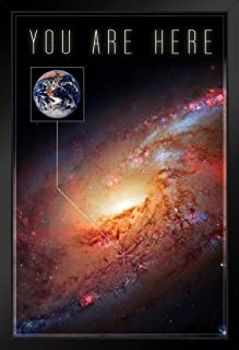You are Here Galaxy Funny Black Wood Framed Art Poster 14x20