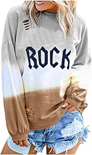 Women's Tops Gradient Letter Rainbow Print Sweatshirt with Thumb Hole Long Sleeve Color Block Crewneck T-Shirt Jacket