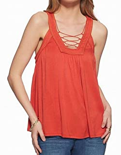Jessica Simpson Women's Athena Strappy Knit Lace Up Tank Top