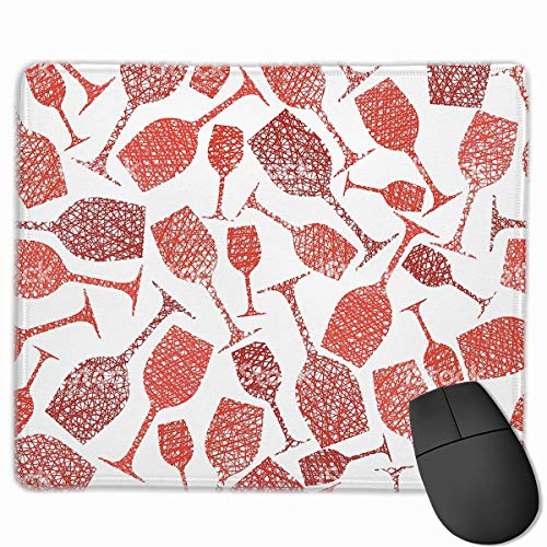 Rutschfeste Gummibasis Mousepad für Laptop-Computer PC Persönlichkeitsdesigns Gaming Mouse Pad Mat (Weinglas Red Clip Arts,)