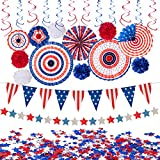 29PCS 4th/Fourth of July Patriotic Decorations Set - Red White Blue Paper Fans,USA Flag Pennant,Star Streamer,Pom Poms,Hanging Swirls Party Decor Supplies