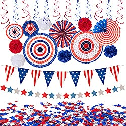 Red White Blue Hanging Paper Fans Party Decor