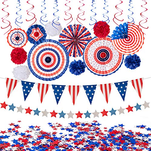 29PCS 4th/Fourth of July Patriotic Decorations Set - Red White Blue Paper Fans,USA Flag Pennant,Star...
