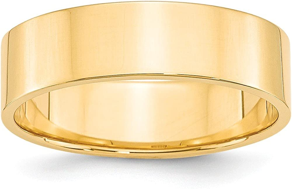 Solid 14k Yellow Gold 6mm Flat Wedding Band