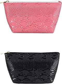 BRUIO Women Zipper Clutch Handbag Portable Makeup Bag Organizer Printing Cosmetic Bags Mini Wash Bag Handy Purse,2PCS
