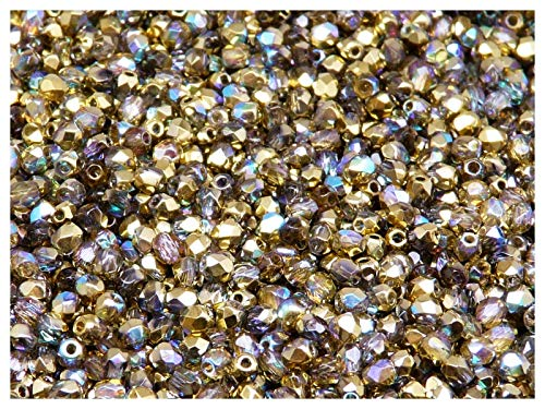 100pcs Tschechische Facettierten Glasperlen Fire-Polished Rund 3 mm Crystal Golden Rainbow