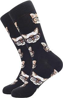 BONANGEL, Calcetines de Algodón Peinado para Hombre, Calcetines Estampados Hombre, Hombres Ocasionales Calcetines Divertidos Impresos de Algodón, Calcetines de Moda de Negocios