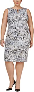 Women's Plus Size Printed Sheath Dress with Hardware