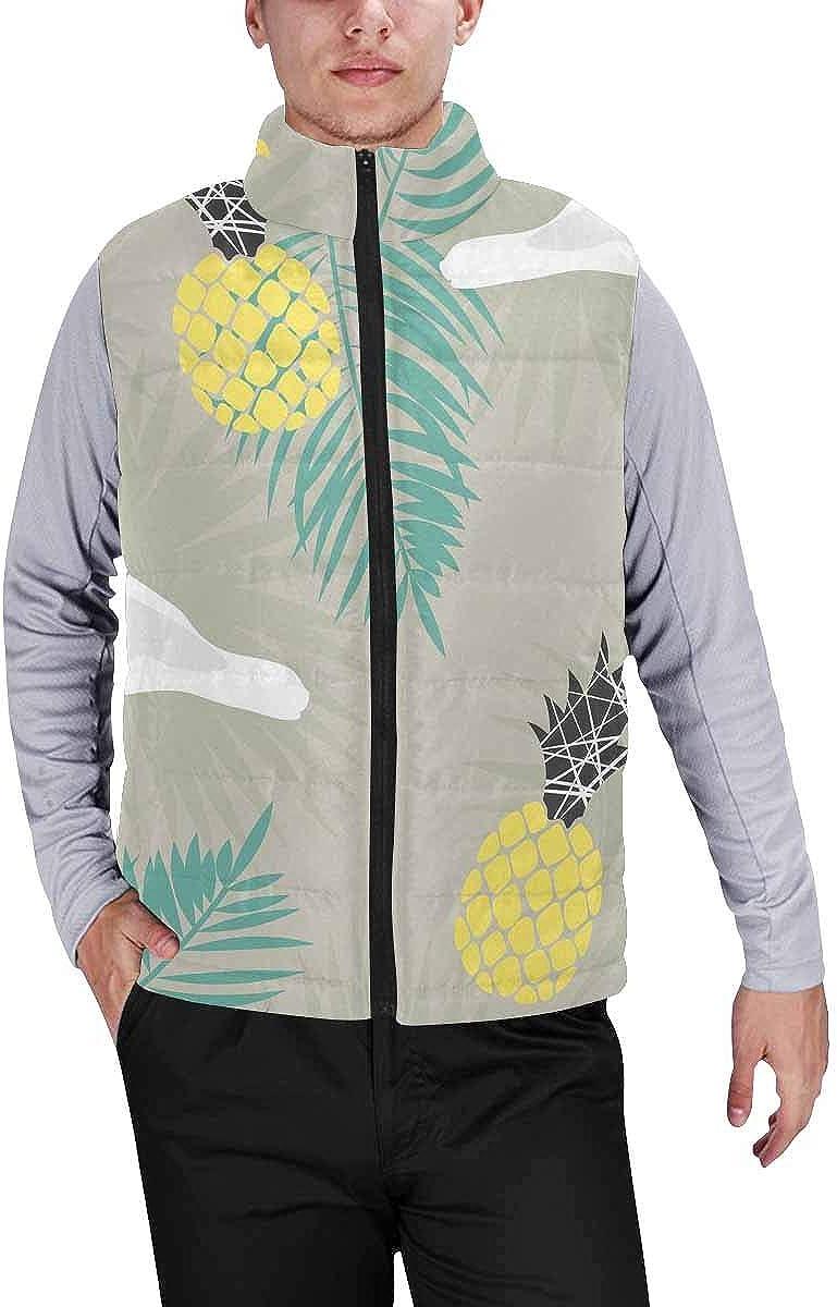 InterestPrint Men's Outdoor Casual Stand Collar Sleeveless Jacket Cute Owl Turkey