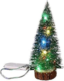 aipipl Arbre de Noël DIY Ornements Décorations de Noël Bureau Boule Vert Givre Côté avec LED Lumières Aiguilles De Pin Dép...