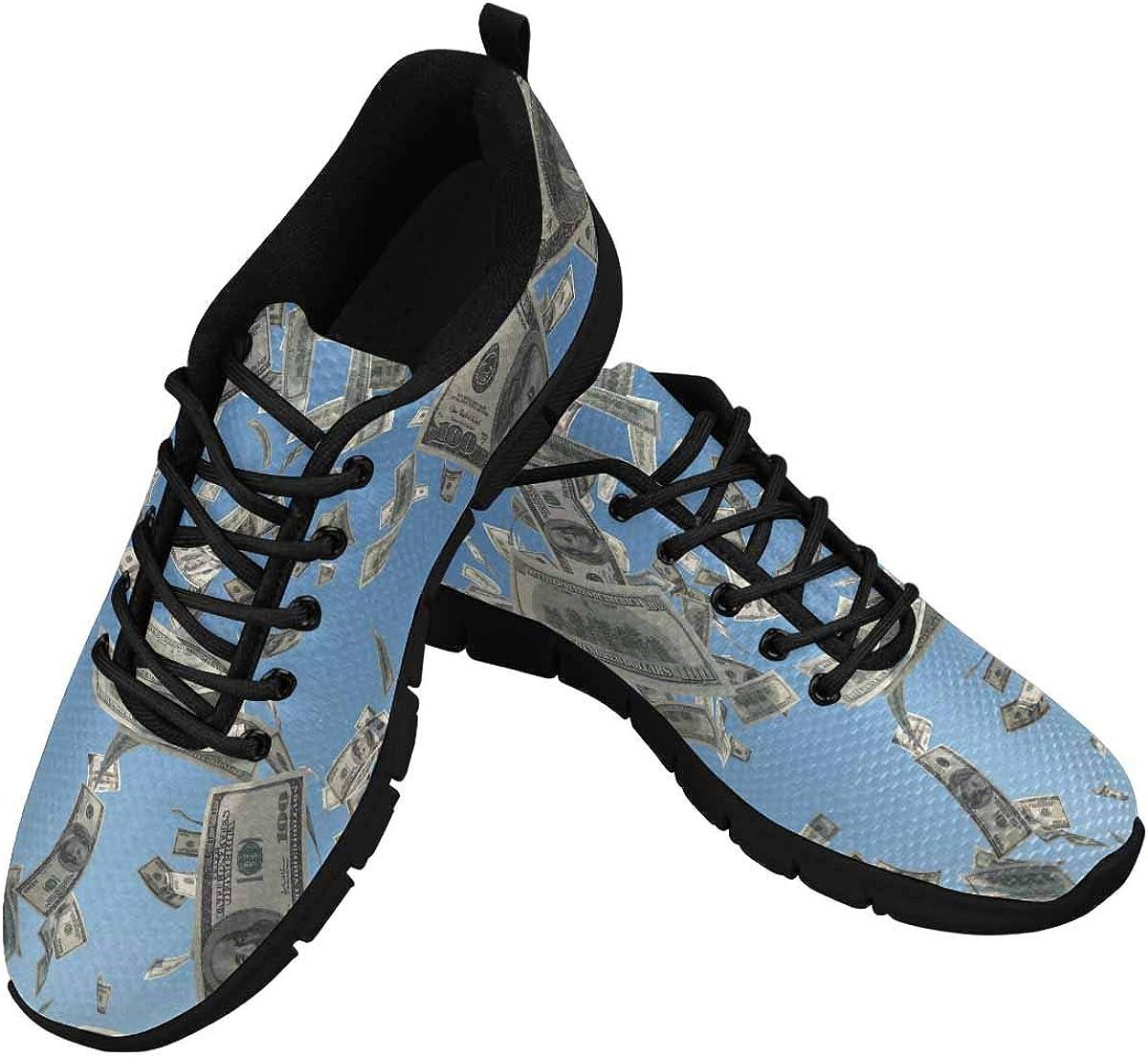 InterestPrint Bills Flying on Blue Sky Women's Athletic Walking Shoes Breathe Comfort Mesh
