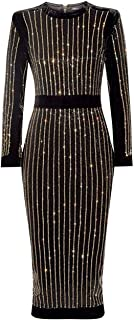 Women's Long Sleeves Bandage Dress High Neck Elegant Dress Black XS-XXL