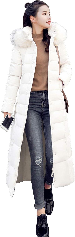 ebossy Women's Down Alternative Faux Fur Hooded Long Puffer Coat with Belt
