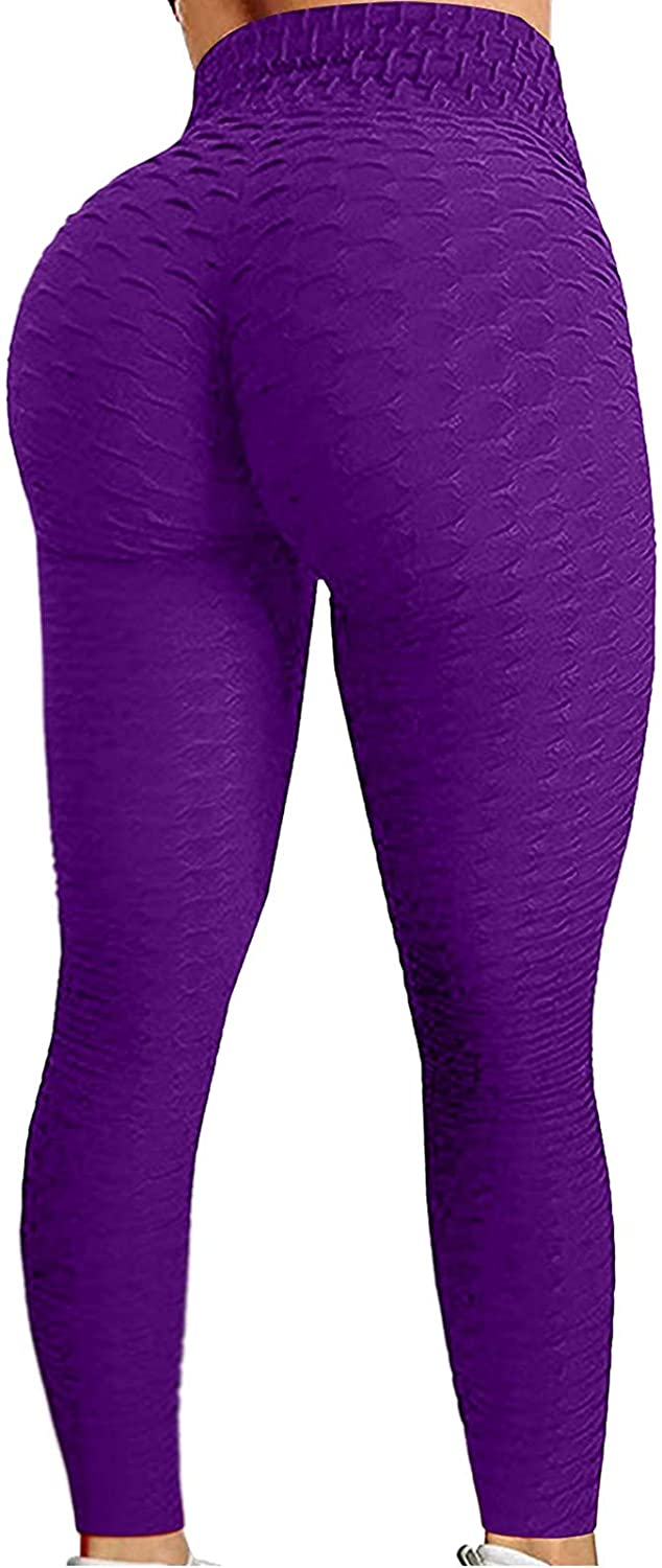 Women's Solid Color Hip Lift Sports Fitness Running High Waist Yoga Pants Workout Compression Leggings