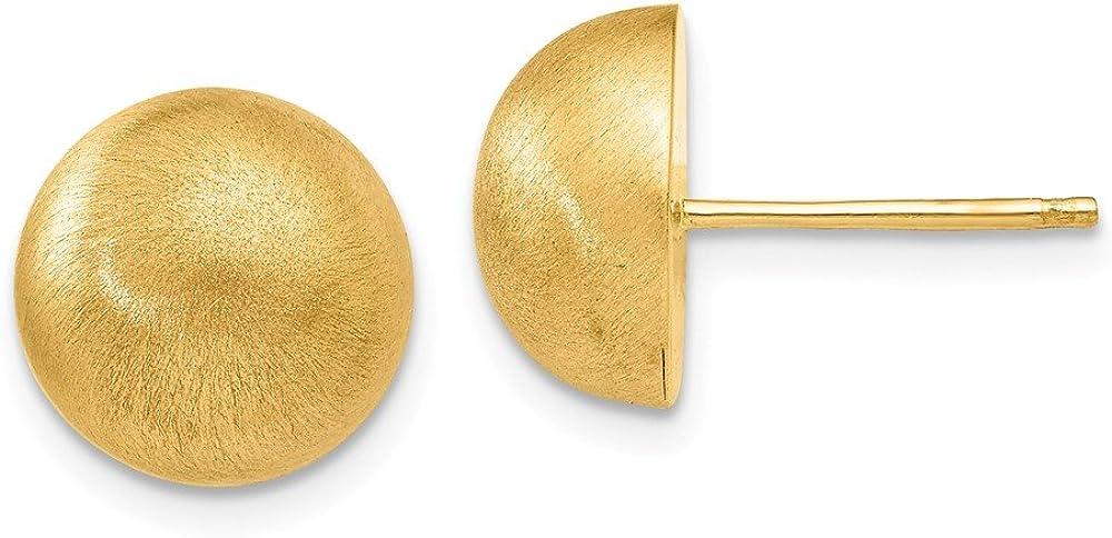 14k Yellow Gold Hollow Satin Half Ball Stud Earrings (L-10.5 mm, W-10.5 mm)
