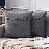 MIULEE Set of 2 Decorative Linen Throw Pillow Covers Cushion Case Triple Button Vintage Farmhouse Pillowcase for Couch Sofa Bed 18 x 18 Inch 45 x 45 cm Dark Grey