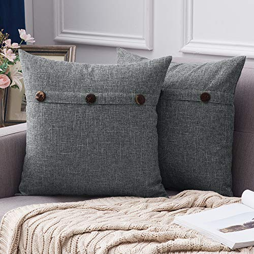 MIULEE Set of 2 Linen Throw Pillow Covers Cushion Case Triple Button Vintage Farmhouse Pillowcase for Couch Sofa Bed 20 x 20 Inch 50 x 50 cm Dark Grey
