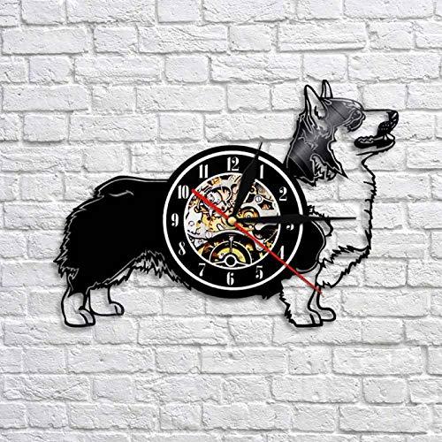 KEC Cardigan Welsh Corgi Dog Reloj de Pared Creativo Animal Puppy Reloj de Registro de Vinilo 12'Relojes de Tiempo de Cuarzo Regalo para los Amantes de Las Mascotas