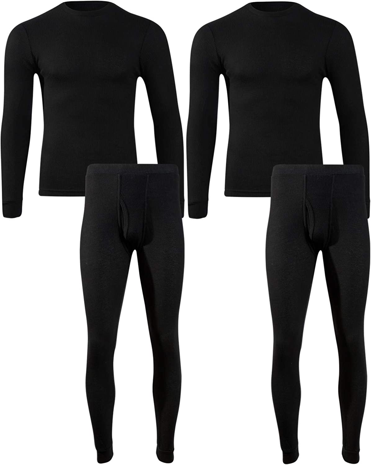 Beverly Hils Polo Club Men's Long Johns Waffle Thermal Underwear Base Layer Set (2 Full Sets)
