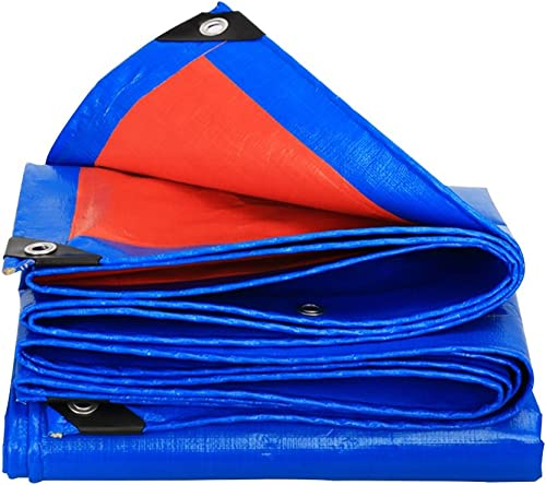 LJL Bache imperméable Bache, bache de Prougeection Solaire Anti-Pluie, Anti-vieillissement Anti-Corrosion, Anti-Gel, Orange + Bleu Bache Robuste (Couleur   A, Taille   6 x 6m)