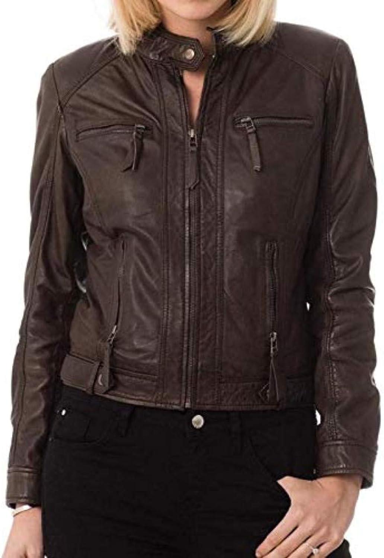 New Fashion Style Women's Leather Jackets Dark Brown B74_