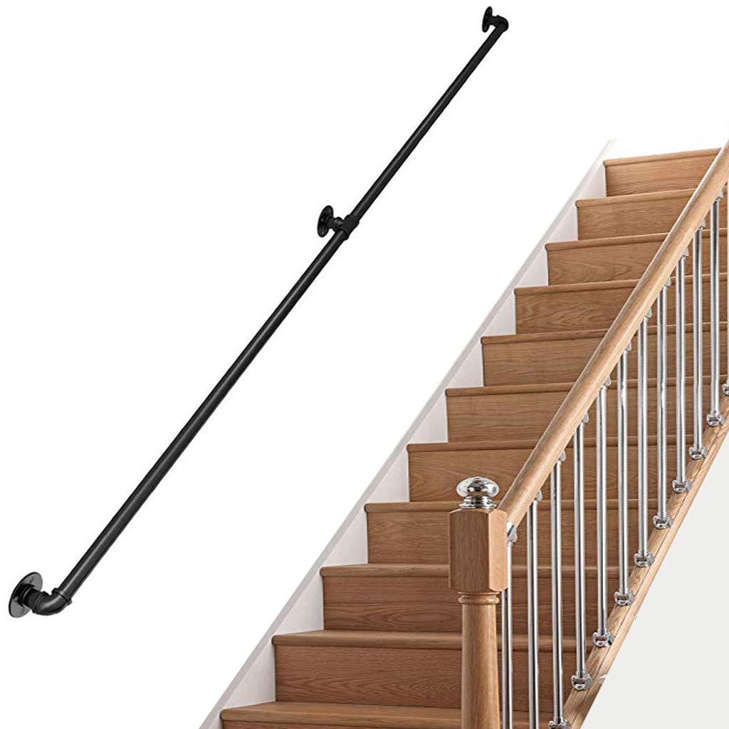 Kit Completo de barandilla de Escalera Industrial |Pasamanos para escaleras para Ancianos Banister Rail para el Interior, Interior, Corredor, Loft |Barandilla de barandilla de Hierro Forjado, Negro: Amazon.es: Hogar