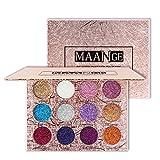 Vtrem Paleta de sombras de ojos, 12 colores, con purpurina, ahumado, resistente al agua, maquillaje cosmético