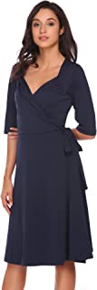 Women's V-Neck Short Sleeve Ruffle Crossover Wrap A-Line Swing Midi Cocktail Party Dress with Belt