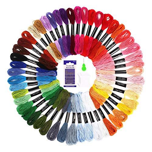 Punto Croce Kit SOLEDI 50 Colori Filo da Ricamo con 12 bobine di filo,10 aghi da ricamo, 1 infila aghi Usato per Ricamo - Punto Croce - Amicizia Braccialetti - Mestieri (50 Colore)