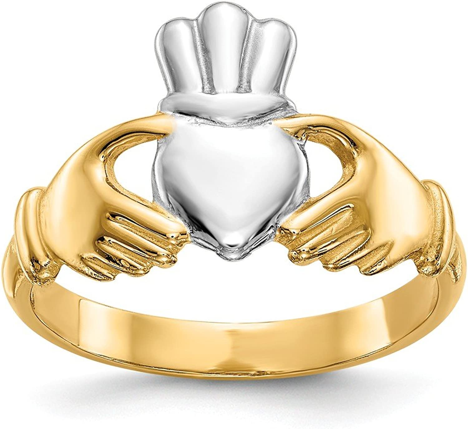 Beautiful rhodium plated gold and silver 14K rhodiumplatedgoldandsilver 14k Polished & Rhodium Claddagh Ring