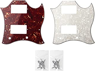 Guitar Full Face Pickguard For Gibson SG Standard Parts 3 Ply Reddish Brown Tortoise Shell and Pale Yellow Pearl Pack of 2