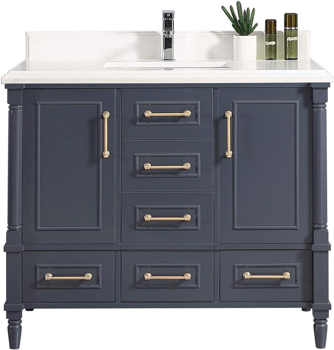 Amazon Com 48 X 22 Willow Collections Aberdeen Bathroom Vanity In Hale Navy Blue With 4cm Beveled Edge Calacatta Quartz Kitchen Dining