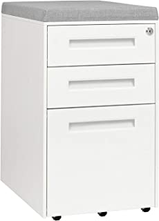 STOCKPILE Seated 3-Drawer Mobile File Cabinet with Removable Magnetic Cushion Seat, Commercial-Grade, Pre-Assembled (White with Grey Cushion)