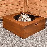 Köhko Feuerschale aus Cortenstahl Palma 75x75x28 cm + Deckel 41009, 30 liters, Braun