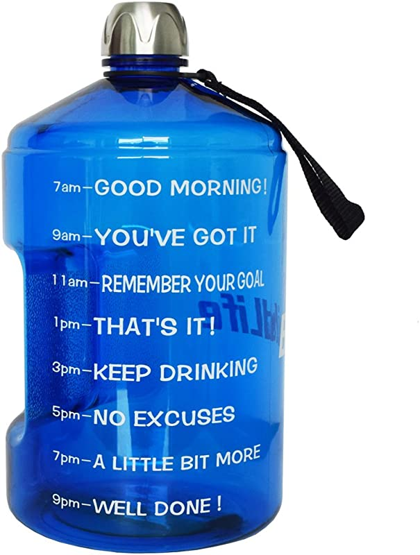 QuiFit 1 Gallon Sports Water Bottle With Motivational Time Marker BPA Free Leak Proof And Durable 128 73 43 Oz Large Capacity To Ensure You Drink Enough Water Throughout The Day