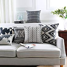 Modern Homes Black and White Throw Pillow Covers 16x16 inches; 100% Cotton Cushion Covers and Sham Set for Sofa, Bed 16 x ...