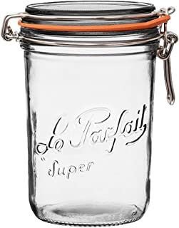 Le Parfait Super Terrine - 1L French Glass Canning Jar w/Straight Body, Airtight Rubber Seal & Glass Lid, 32oz/Quart (Pack of 4) Stainless Wire