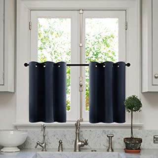 MRTREES Short Tier Curtains Navy Blue 24 inches Long Kitchen Tiers Room Darkening Cafe Curtains Bathroom Small Window Treatment Set 2 Panels Grommet Top