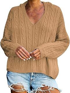 Amlaiworld Suéter para Mujer Jersey de Invierno Blusa con Cuello en v Sexy Moda para Mujer Color Puro Tops Sudadera de Man...