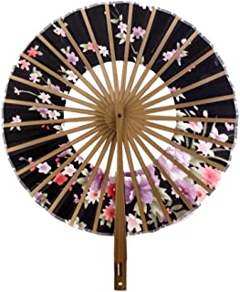 Rocita - Ventilador redondo de bambú para mujer, diseño de flores de seda japonesas, abanico plegable de mano